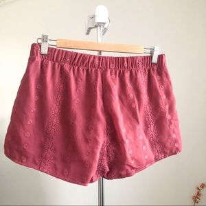 LA Hearts Red Boho Elastic Waist Shorts